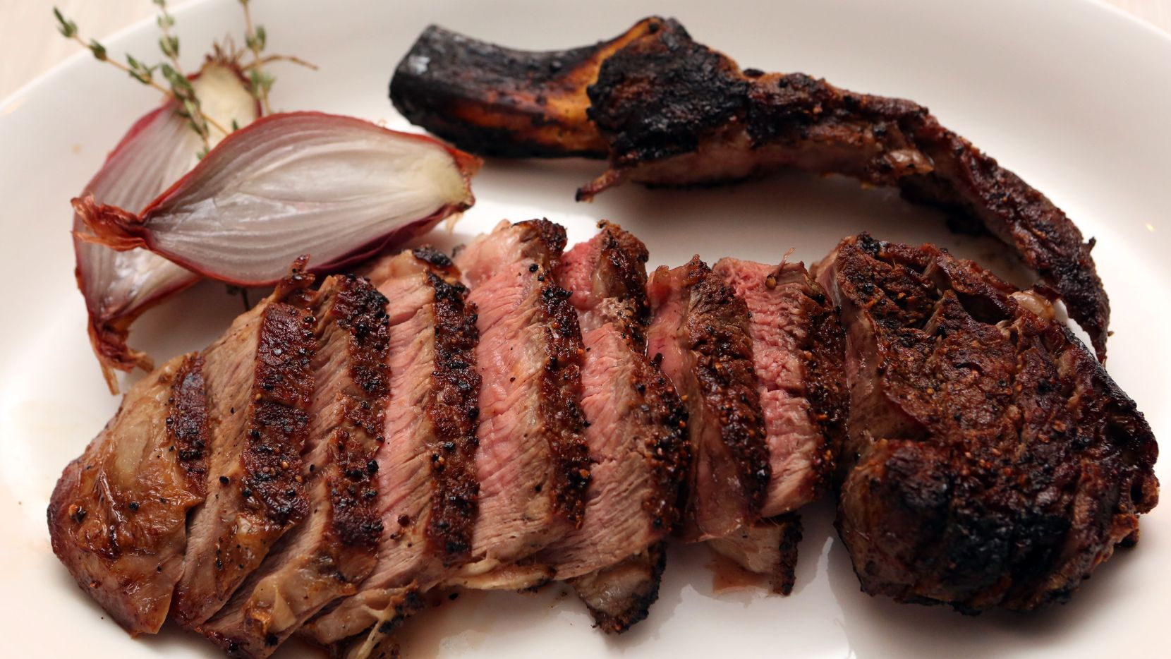 Knife's claim to fame is its dry-aged steaks. This one was aged for 28 days, but, for a much higher price, steaks can be aged for 150 days or more.