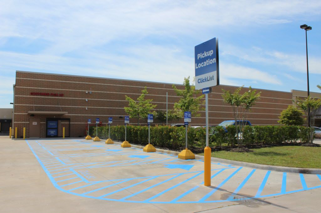Designated parking spaces at Kroger stores for ClickList customers. Stores were modified with new entrances leading into areas of at least 1,200 square feet where orders are kept. This area is outside a Kingwood store, near Houston.