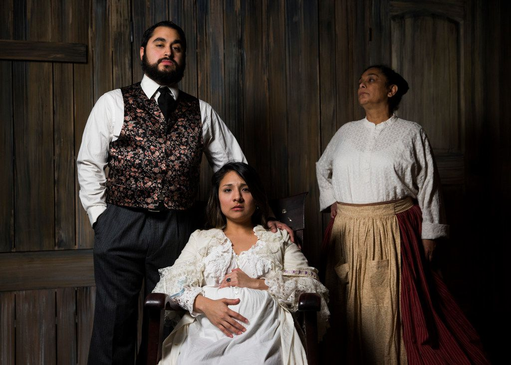 Ruben Carrazana (left), who plays Septimo, and Alejandra Flores (center), who plays Isadora, and Dolores Godinez, who plays Rocio, pose for a photo as their characters from Kitchen Dog Theater's Wolf at the Door.