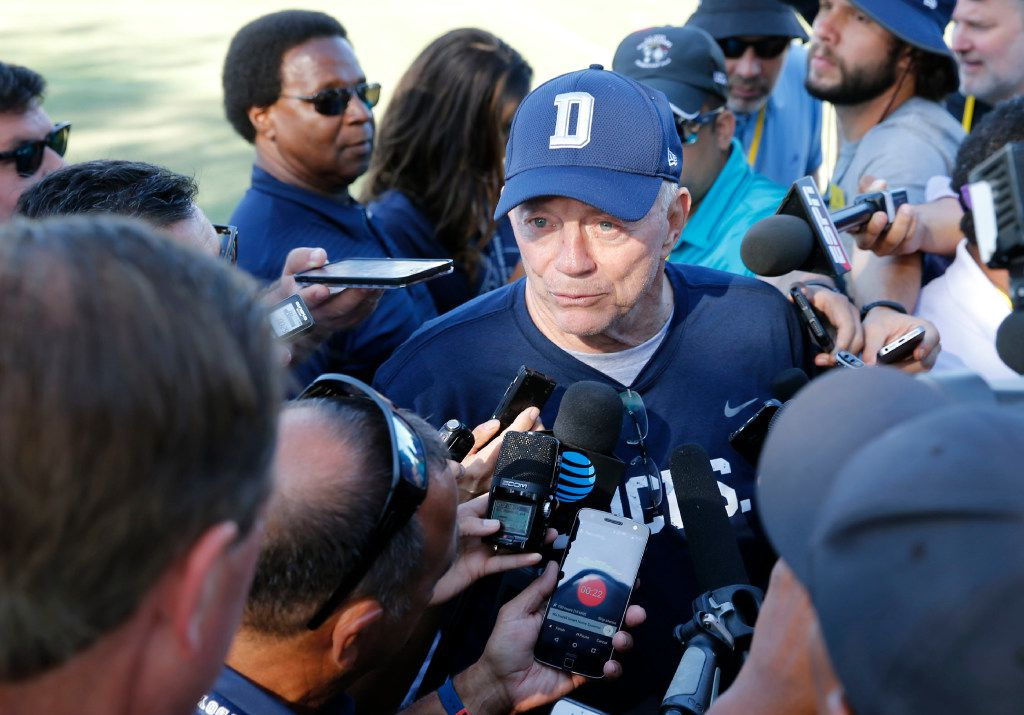Dallas Cowboys owner and general manager Jerry Jones talks to the media after the afternoon practice at training camp in Oxnard, California on Tuesday, July 25, 2017. (Vernon Bryant/The Dallas Morning News)
