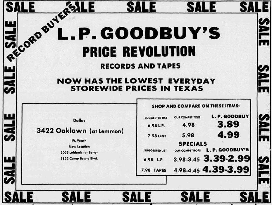 An LP Goodbuy advertisement from Dec. 19, 1976.