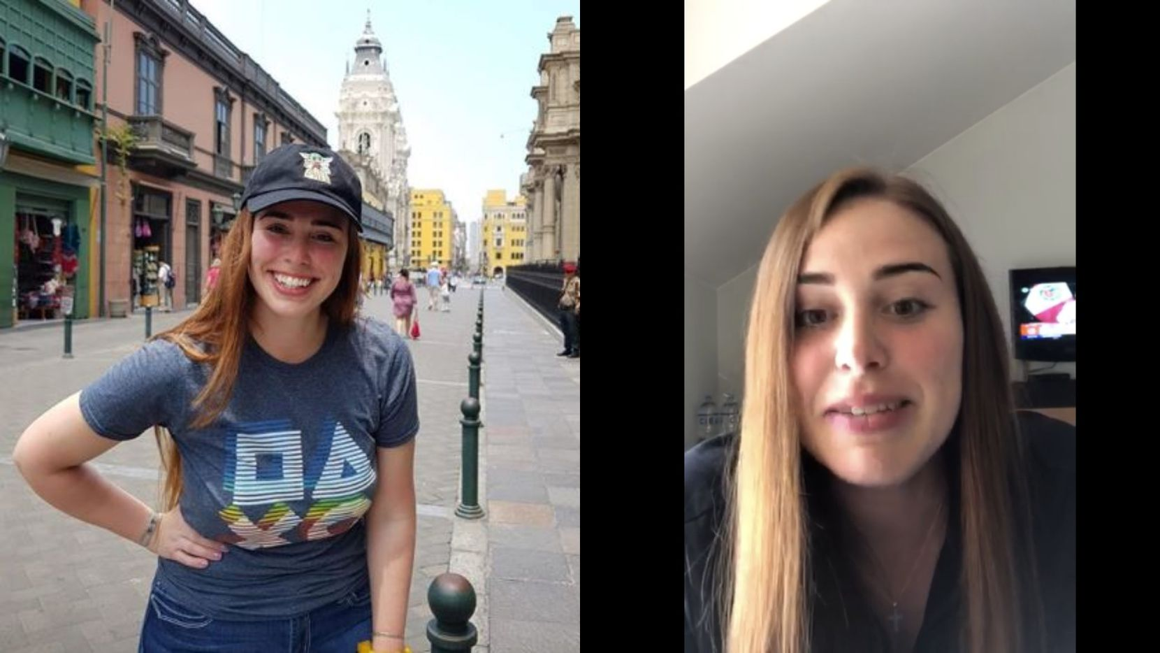 Joshlyn Davis of Dallas was visiting Cusco, Peru when the government there issue a 15-day quarantine to stem the spread of COVID-19. On the left is a picture before the quarantine and on the right, she is speaking from her hotel room where she has been ordered to stay, unless she is getting groceries or medical attention.