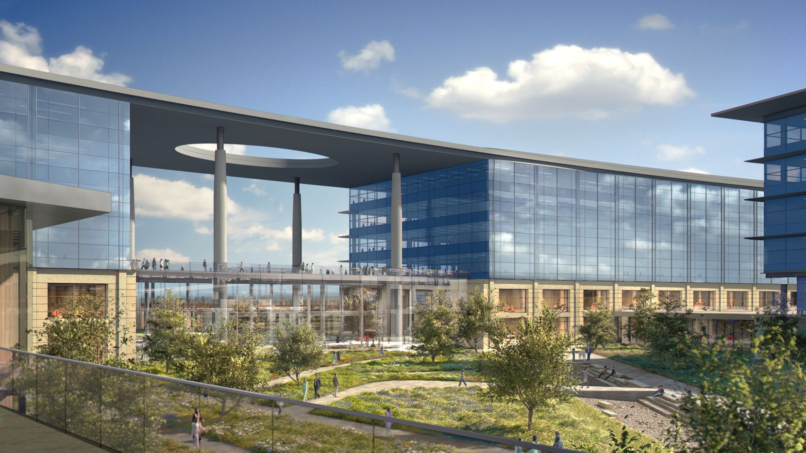 An artist's rendering of Toyota's North American headquarters campus being built in Plano.
