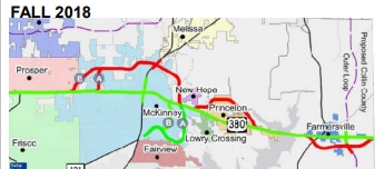 This Texas Department of Transportation map shows two proposed revised alignments to improve U.S. Highway 380.