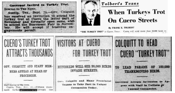 Snips of headlines from Sept. 26, Oct. 12, Nov. 10, Nov. 26 1912 and Nov. 17, 1965.
