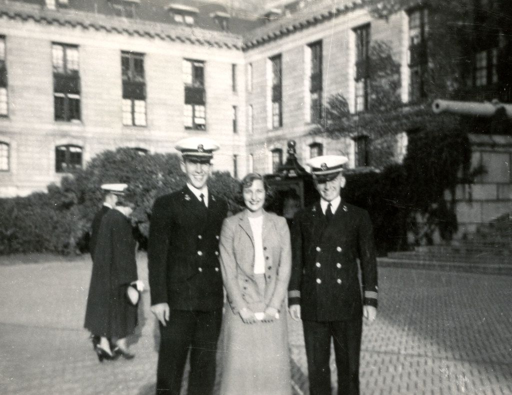 Mitch Hart and Margot and Ross Perot at Perot's graduation from the U.S. Naval Academy in 1953.
