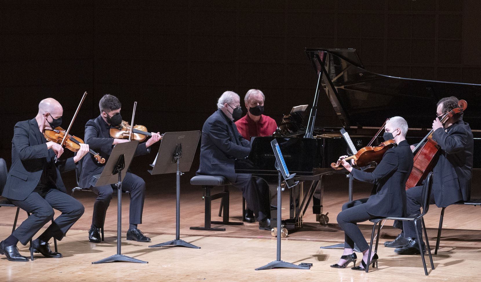 Pianist and Dallas Symphony Orchestra artist in residence Emanuel Ax, with musicians from the Dallas Symphony Orchestra, perform Dvorak Piano Quintet in A Major on April 13 at the Morton H. Meyerson Symphony Center in downtown Dallas.