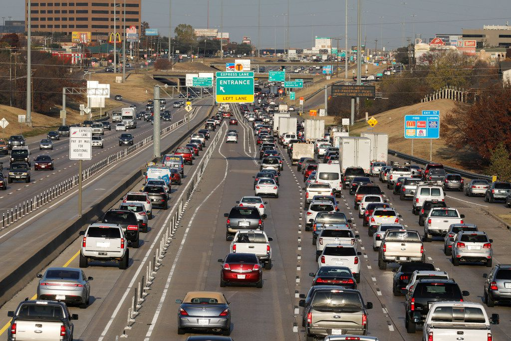 "Vehicles traveling east and west on Interstate 635 near Skillman St. Dec. 14, the day state officials told regional counterparts they will not accept the plans for the freeway to be built with the help of managed, tolled lanes. The state's ""no more tolls"" debate has been focused on this particular project for five years. (David Woo/The Dallas Morning News)"