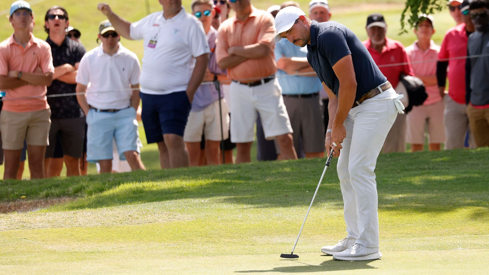 Scott Stallings watches his ball just miss on a chance for birdie on the 18th hole during round 3 of the AT&T Byron Nelson  at TPC Craig Ranch on Saturday, May 15, 2021 in McKinney, Texas. (Vernon Bryant/The Dallas Morning News)