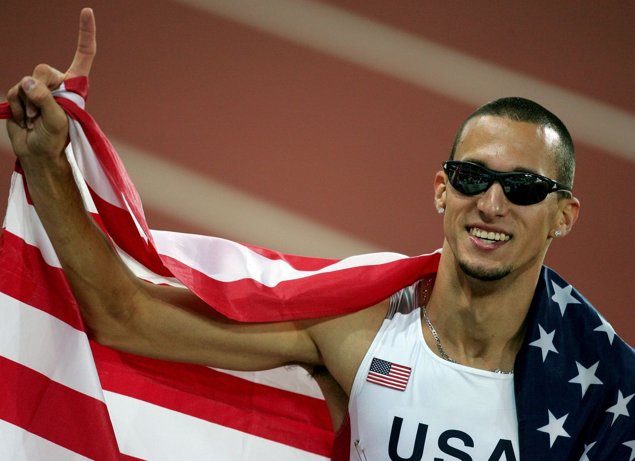From 2005: Jeremy Wariner of USA celebrates after he won the men's 400m final at the 10th IAAF World Athletics Championships on August 12, 2005 in Helsinki, Finland. Jeremy Wariner of USA won gold, Andrew Rock of USA won silver and Tyler Christopher of Canada won bronze.
