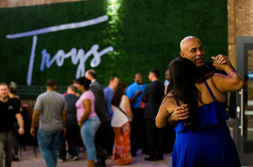 Juanita Reyna and Jesse Franco dance at Troy's during the grand opening celebration for Texas Live.