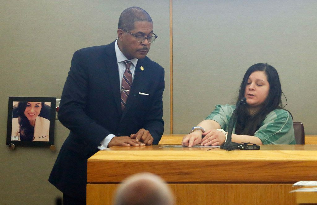 Prosecutor Kevin Brooks listens to testimony from  Crystal Cortes, the getaway driver in a murder-for-hire plot targeting pediatric dentist Kendra Hatcher. (Vernon Bryant/Staff Photographer)