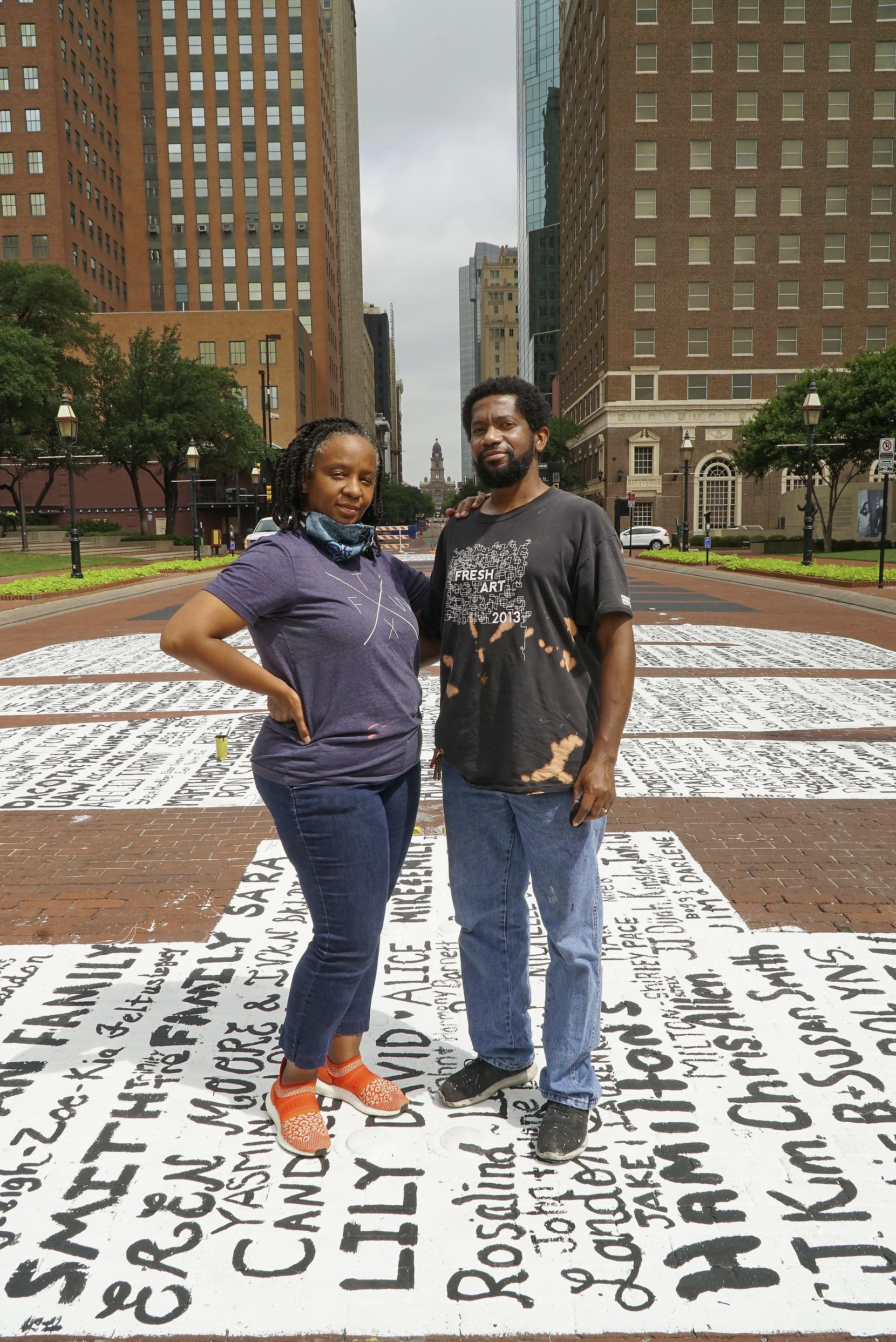 "Letitia and Sedrick Huckaby on the ""End Racism Now"" mural in downtown Fort Worth on Tuesday, June 30, 2020."