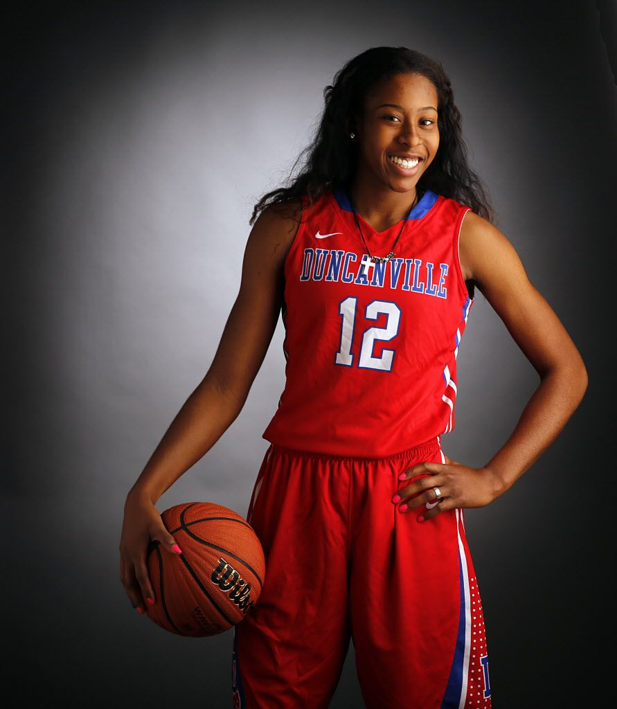 All-Area Girls Basketball Player of the Year,  Duncanville senior guard Ariel Atkins is photographed in the DMN Studio, Friday, March 7, 2014. (Tom Fox/The Dallas Morning News) -- mug mugshot headshot portrait