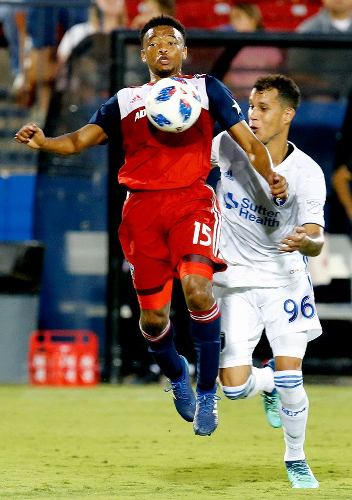 FC Dallas midfielder Jacori Hayes (15) receives a pass while San Jose Earthquakes midfielder Luis Felipe (96) defends during the second half as FC Dallas hosted San Jose Earthquakes at Toyota Stadium in Frisco on Saturday, August 4, 2018. (Stewart F. House/Special Contributor)
