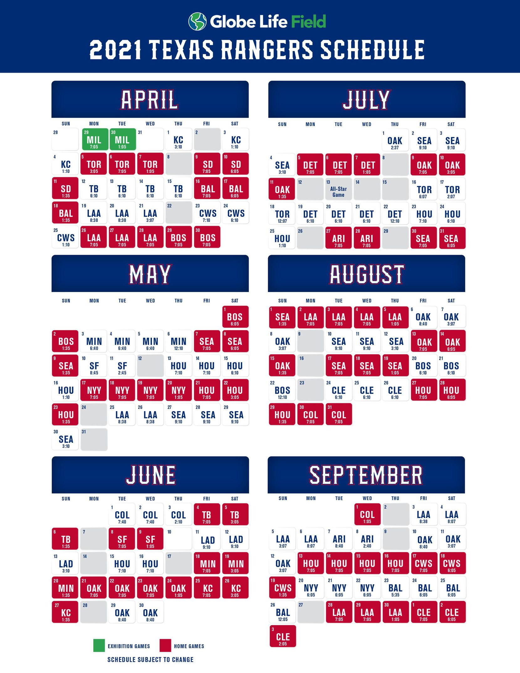 Texas Rangers schedule for the 2021 MLB season.