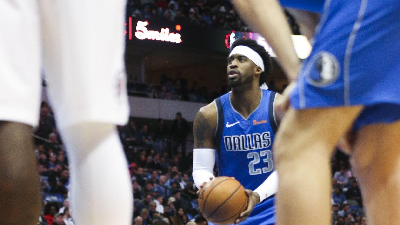 Dallas Mavericks guard Wesley Matthews (23) attempts a free-throw during an NBA basketball game at American Airline Center in Dallas on Tuesday, Jan. 22, 2019.  (Shaban Athuman/The Dallas Morning News)