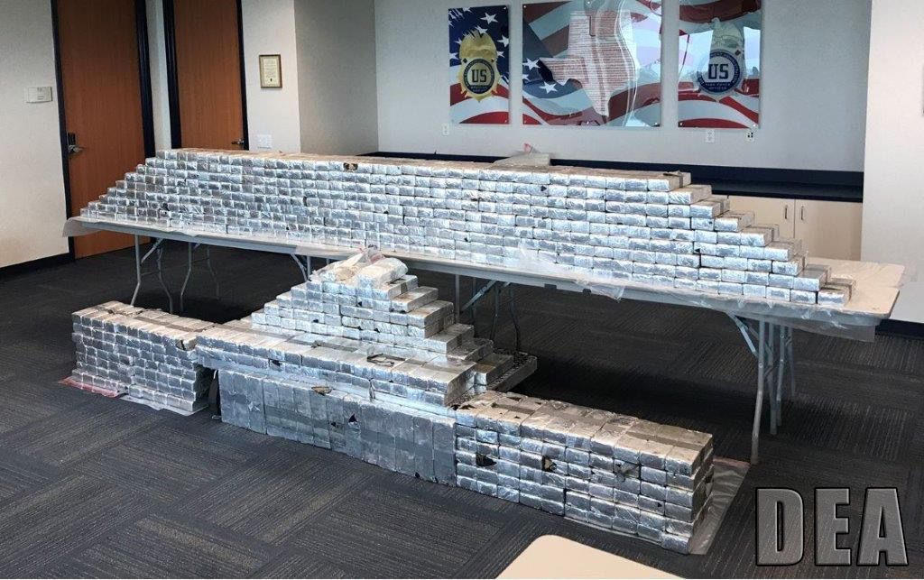 This is what $45 million in meth and heroin looks like. It was all seized in a Denton County truck stop last October, the DEA's Dallas field office announced Wednesday.