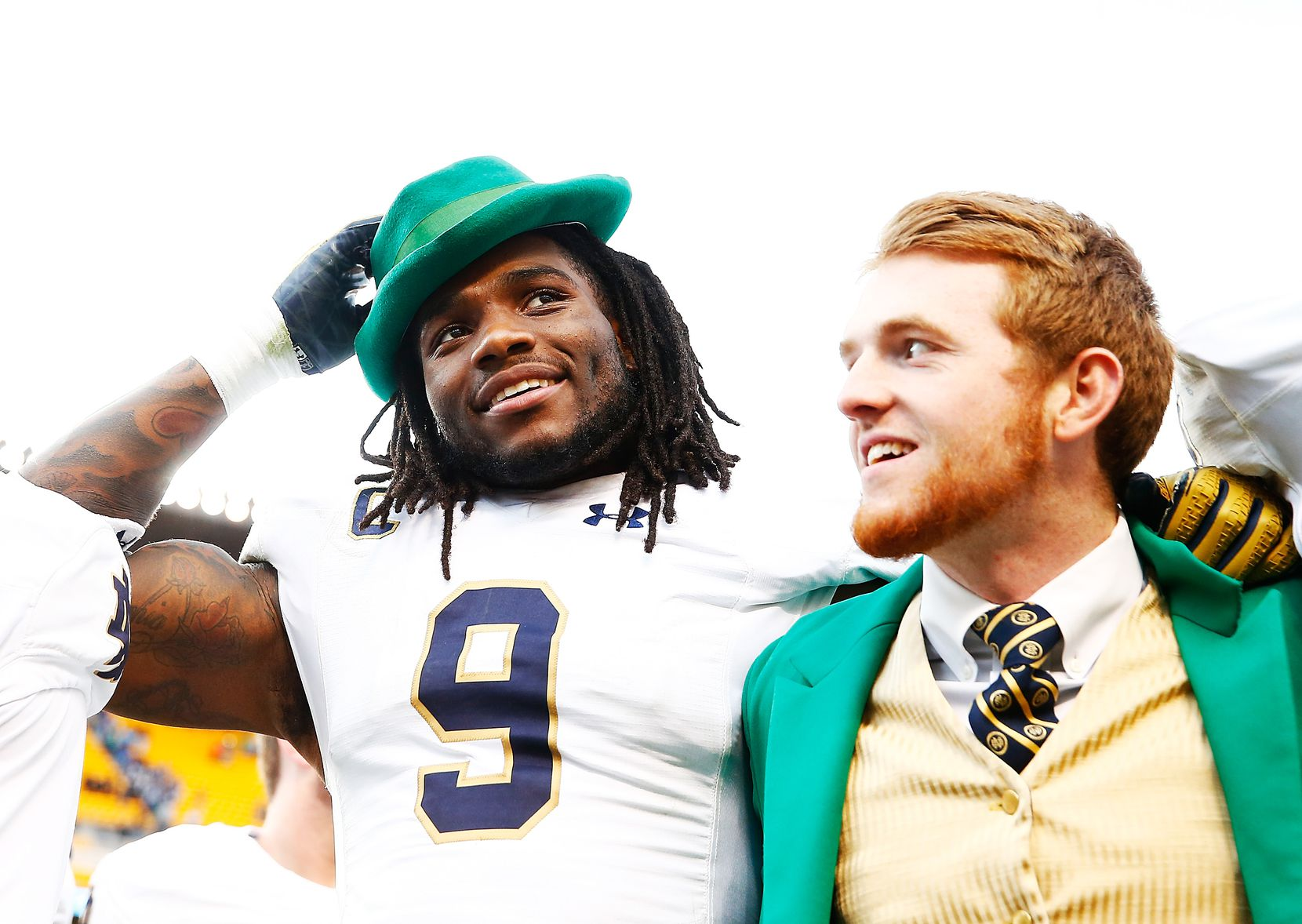 PITTSBURGH, PA - NOVEMBER 07:  Jaylon Smith #9 of the Notre Dame Fighting Irish celebrates by wearing the hat of team mascot, Lucky The Leprechaun, following their 42-30 win against the Pittsburgh Panthers at Heinz Field on November 7, 2015 in Pittsburgh, Pennsylvania.  (Photo by Jared Wickerham/Getty Images)