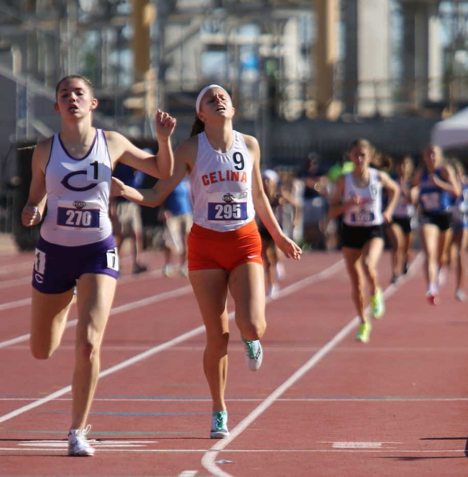 Celina's Adele Clarke places second after Canyon's Abree Winfreyin the 4A girls 800 meters during the UIL state track meet at the Mike A. Myers Stadium, at the University of Texas on May 6, 2021 in Austin, Texas.