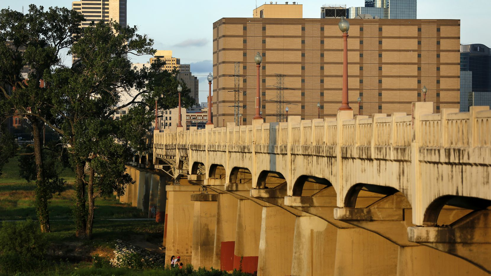 The former Jesse R. Dawson State Jail (top right) near downtown Dallas is pictured across the Commerce Street bridge, July 7, 2020.
