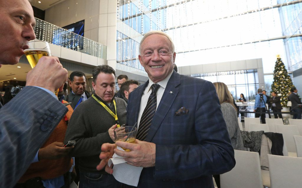 Jerry Jones jokes with the media as he hosts a news conference and reception to announce new tenants for The Star in Frisco,Texas on Thursday, December 15, 2016. (Louis DeLuca/The Dallas Morning News)