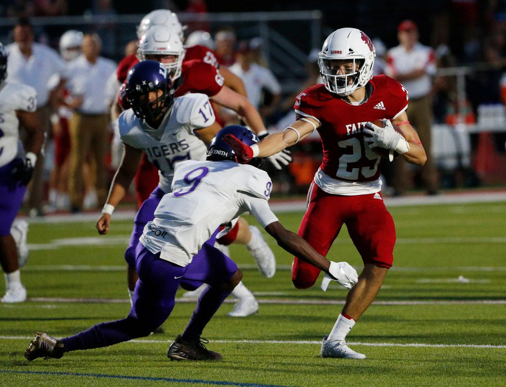 Grapevine Faith Christian's Mark Saunders (25) is one half of the Lions' dynamic running back duo. Saunders rushed for 118 yards and two touchdowns Friday night.