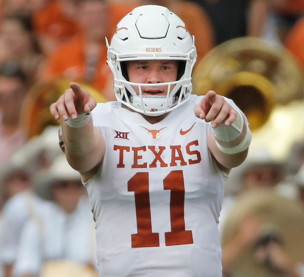 Texas Longhorns quarterback Sam Ehlinger (11) is pictured during the University of Texas Longhorns vs. the Oklahoma Sooners NCAA football game at the Cotton Bowl in Dallas on Saturday, October 6, 2018. (Louis DeLuca/The Dallas Morning News)