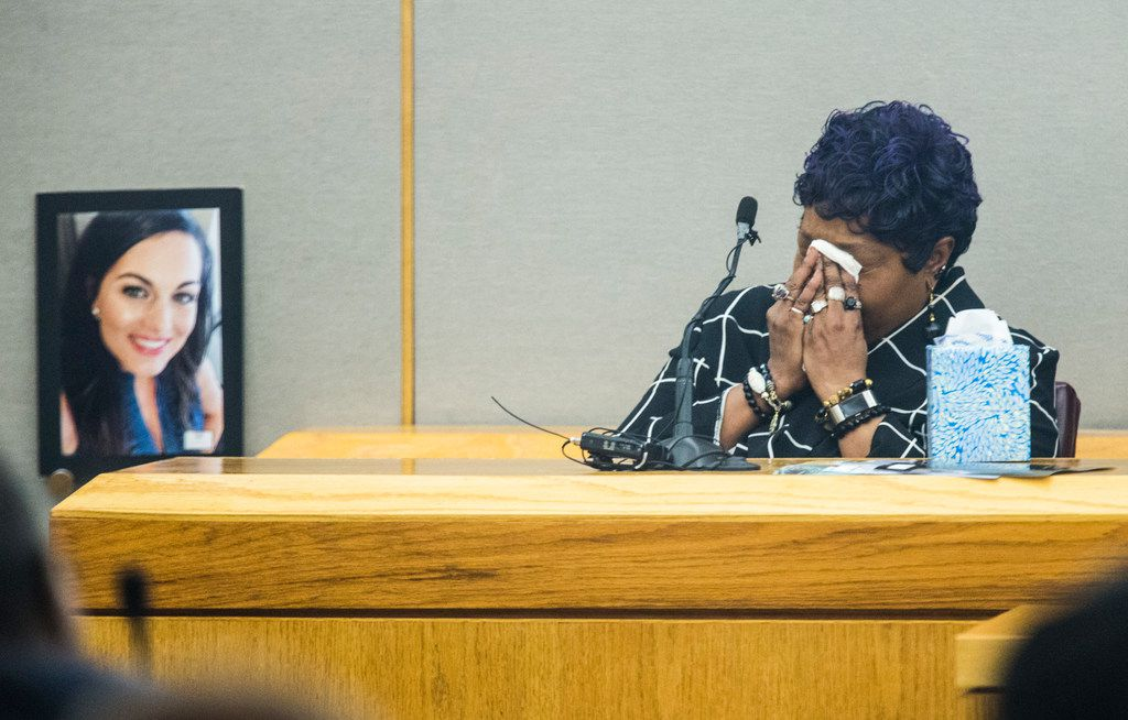 Vea Love, mother of Kristopher Love, testifies during the punishment phase of a capital murder trial for Kristopher Love on Tuesday, October 30, 2018 at the Frank Crowley Courts Building in Dallas. Love was convicted in the 2015 murder of pediatric dentist Kendra Hatcher, pictured at left. He could face the death penalty. (Ashley Landis/The Dallas Morning News)