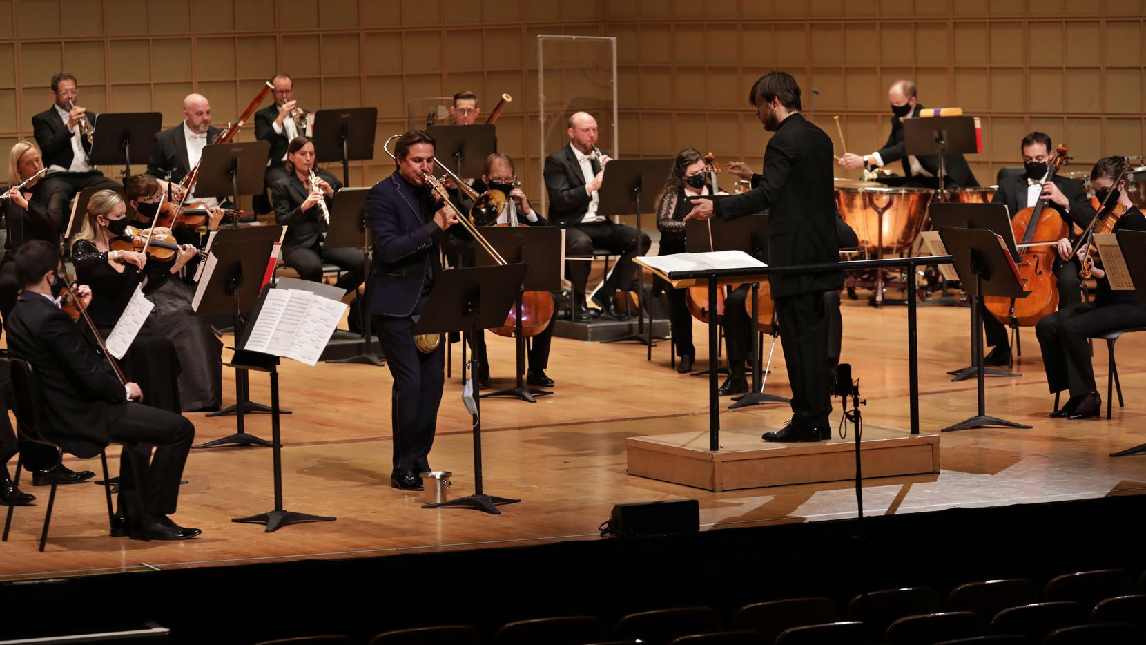 Trombonist Jörgen van Rijen plays the U.S. premiere of Bryce Dessner's Trombone Concerto with guest conductor Juraj  Valčuha and the Dallas Symphony Orchestra at the Meyerson Symphony Center in Dallas on Oct. 1, 2020. (Jason Janik/Special Contributor)