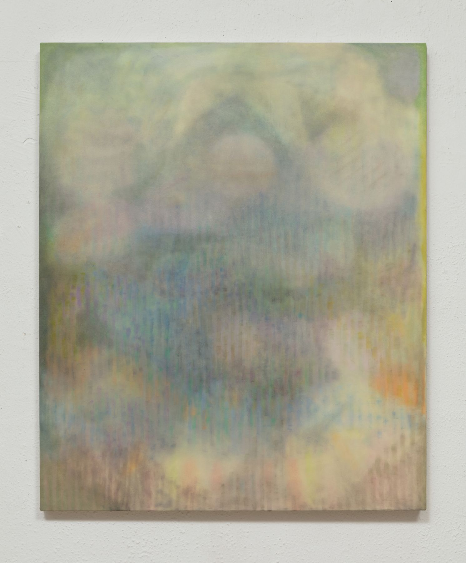 "The 2018 painting ""untitled (accidental vagrant)"" feels like an atmospheric world seen through faded glass, or with eyes weakened from age."
