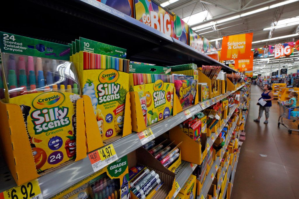 This is a display of scented markers and crayons in a Walmart in Pittsburgh, Thursday, July 19, 2018.  (AP Photo/Gene J. Puskar)