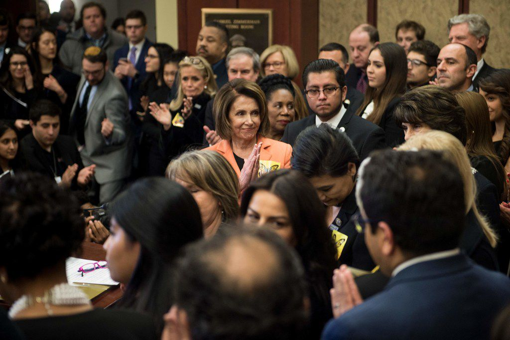 House Minority Leader Nancy Pelosi, D-Calif., clapped for Dreamers during a news conference with Democratic lawmakers on Jan. 30, 2018.