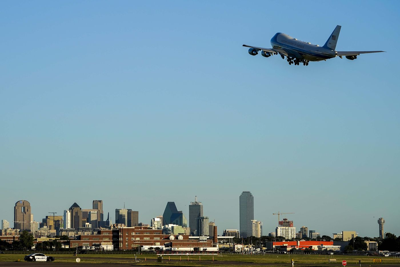 Air Force One departs Dallas Love Field Airport after President Donald Trump participated in a roundtable conversation about race relations and policing and attended a fundraiser at a private residence on Thursday, June 11, 2020, in Dallas. (Smiley N. Pool/The Dallas Morning News)