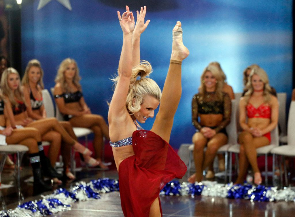 Veteran Cowboys cheerleader Heather O. of Tucson dances during the individual talent portion of tryouts for the Dallas Cowboys Cheerleaders at  AT&T Stadium in Arlington.