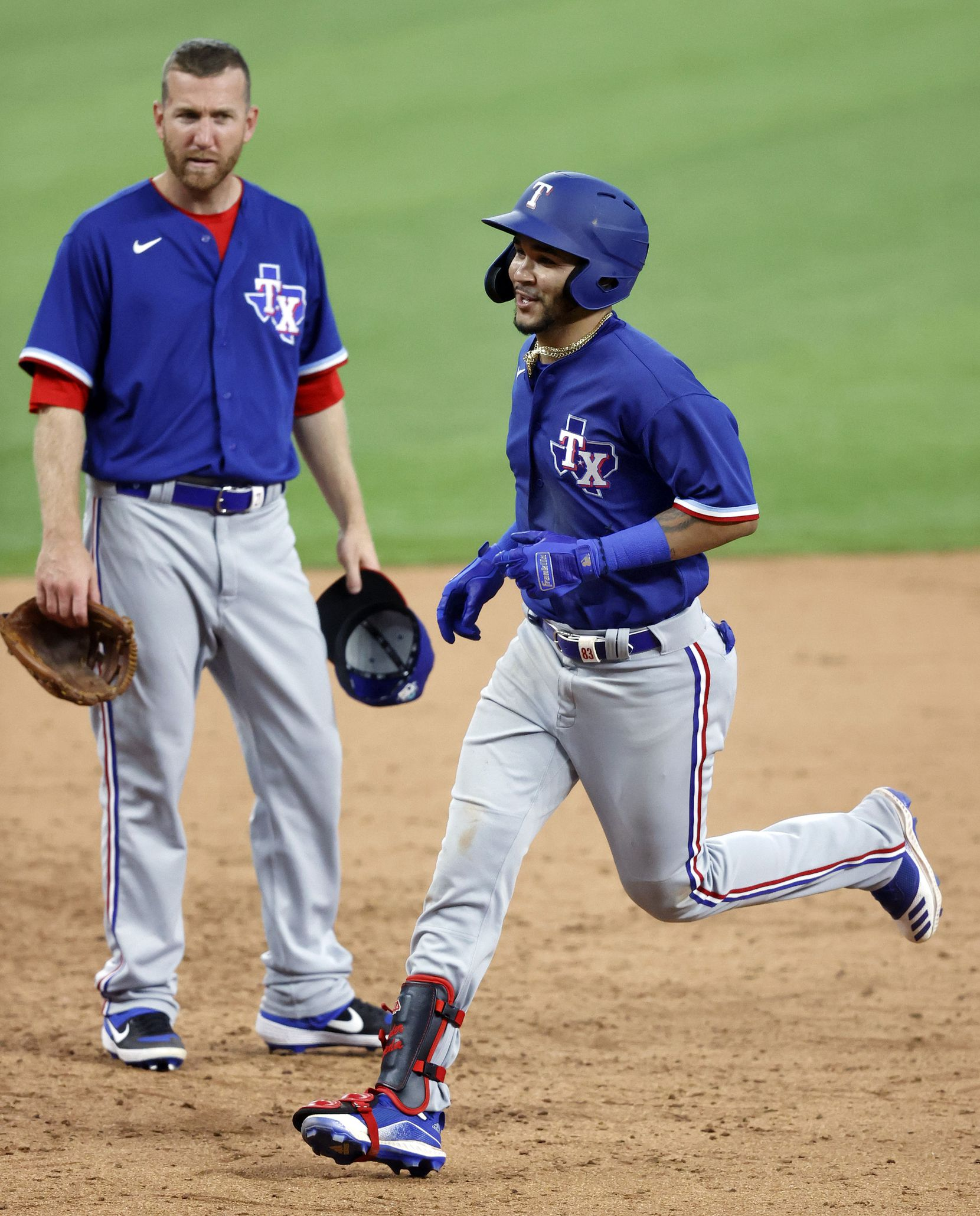 Texas Rangers Anderson Tejeda circles the bases after hitting a home run off of Edinson Volquez during an intrasquad game at Summer Camp inside Globe Life Field in Arlington, Texas, Friday, July 10, 2020. (Tom Fox/The Dallas Morning News)