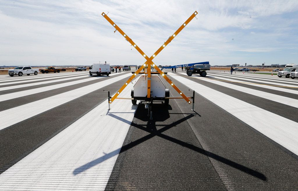 LED lights at the end of runway 17C after being under construction at DFW airport on Monday, February  25, 2019. Runway 17C/35C was resurfaced with weather-resistant asphalt. The lights were there for the press event but wouldn't normally be there.
