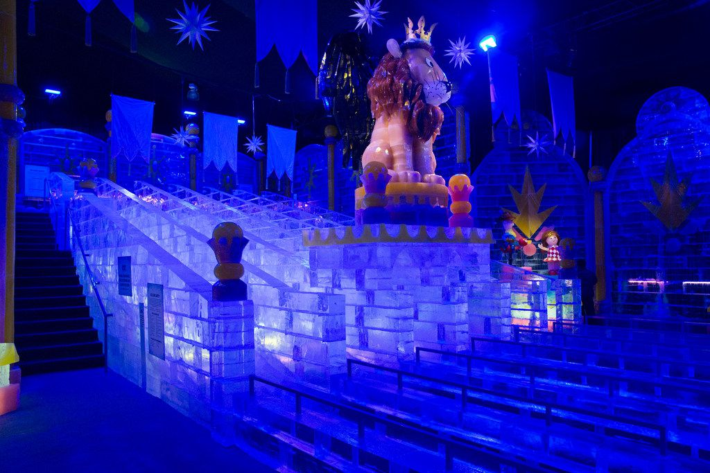 This year's ICE! exhibit at Gaylord Texan in Grapevine includes ice slides that visitors can ride.