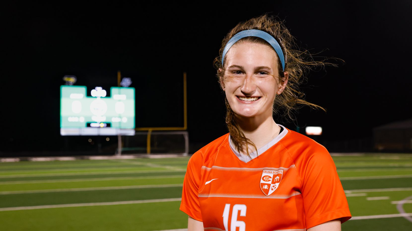 Celina's Taylor Zdrojewski (16) poses for a photo following her team's 7-0 win over Bullard during a girl's Class 4A Region II semifinal soccer match in Forney on Tuesday, April 6, 2021. Zdrojewski broke the all-time state record for most goals in a season during this game.