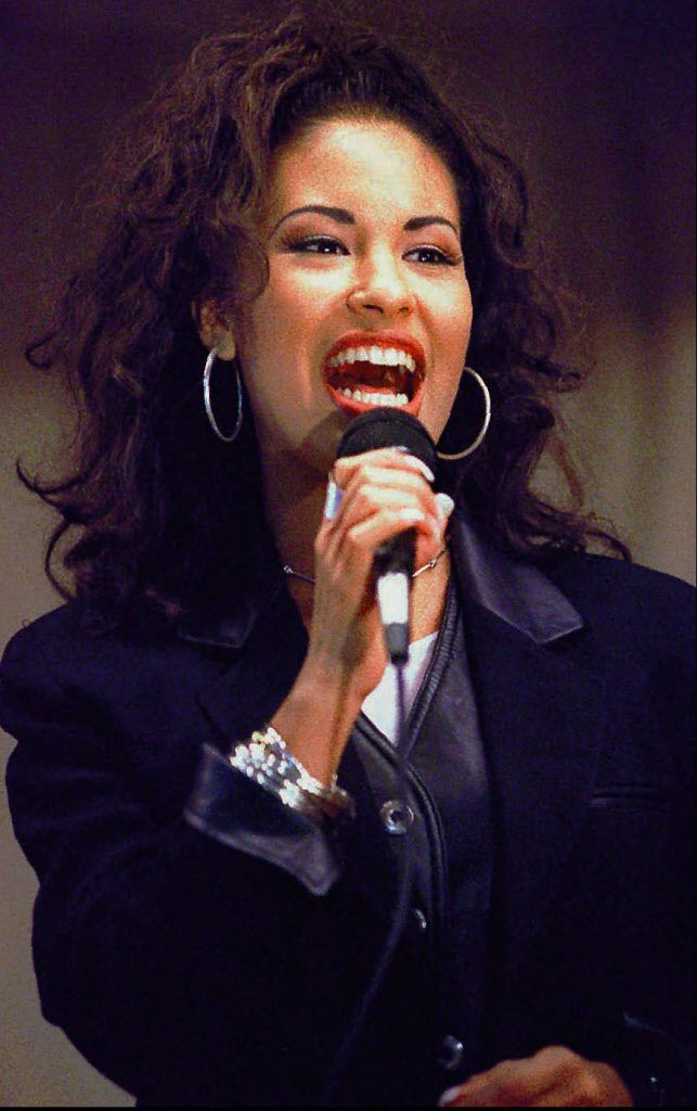 Selena Quintanilla-Perez performs during a concert at the Cunningham Elementary School in Corpus Christi, Texas.