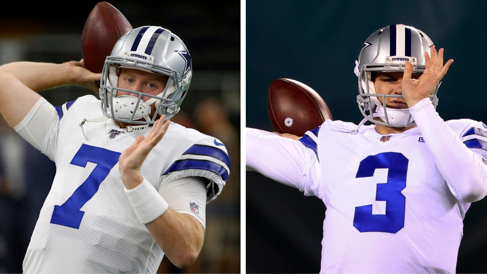 Cooper Rush (izq) y Garrett Gilbert compiten por ser el mariscal abridor de los Dallas Cowboys en el juego contra los Steelers de Pittsburgh.