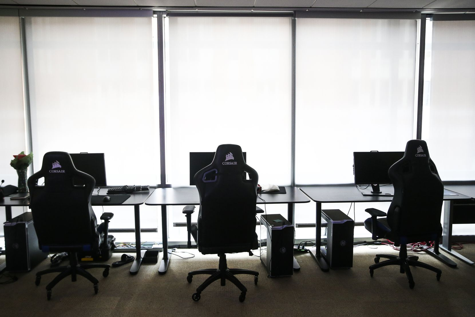 FILE - Gaming computers are seen at the Team Envy and Dallas Fuel office space in Victory Park on Friday, Feb. 1, 2019, in Dallas.
