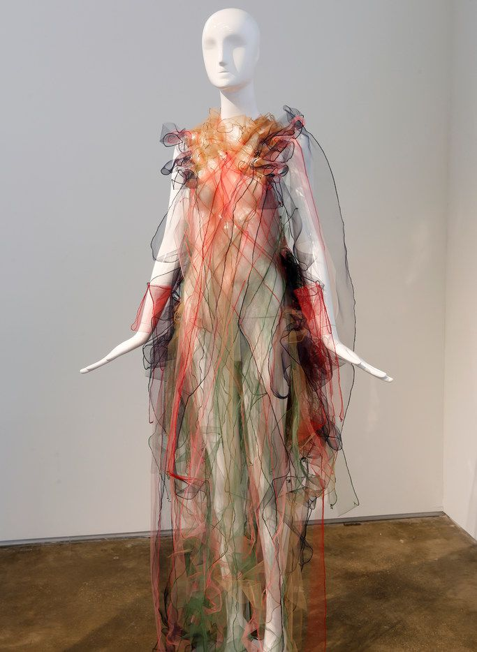 Danish artist Anne Damgaard's creations are diaphanous works of tulle, gauze and organza that reflect or diffuse light and appear to float in the air, but their structure is highly disciplined.