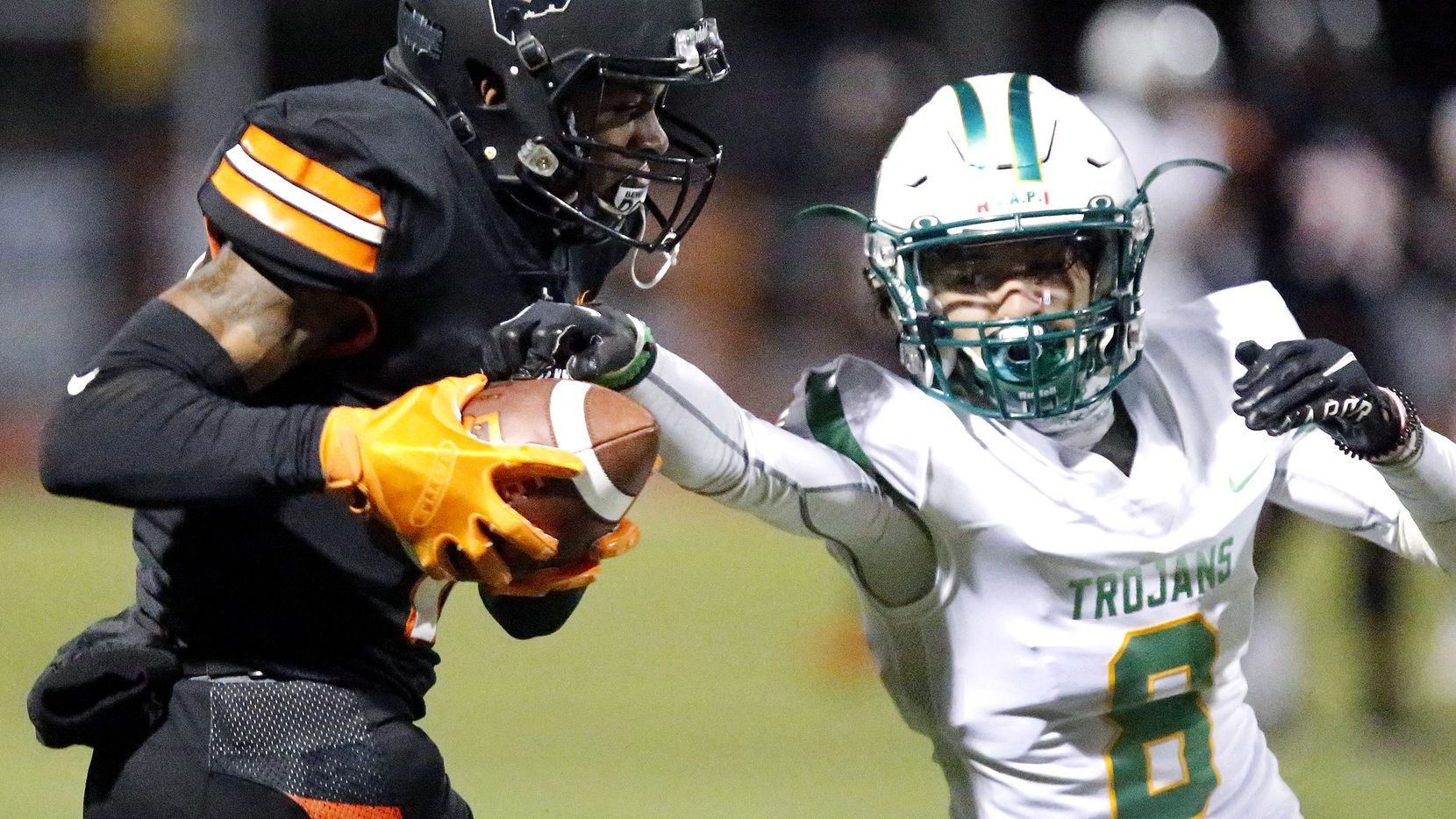 Lancaster High School wide receiver Tony Evans, Jr. (19) catches a pass at Beverly D. Humphrey Tiger Stadium in Lancaster on October 16, 2020. Evans was fatally shot Sunday, April 11, 2021, at a hotel in Stemmons Corridor. (Stewart F. House/Special Contributor)