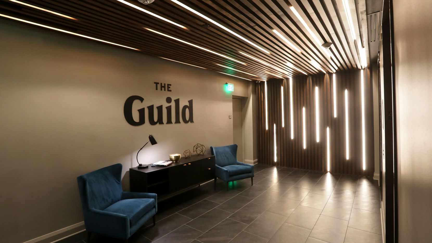 The entry to The Guild in Santander Tower in downtown Dallas.  (Jason Janik/Special Contributor)
