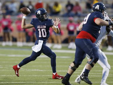 Allen's General Booty (10) attempts a pass in a game against Humble Atascocita's during the first quarter of play at Eagle Stadium in Allen, Texas on Friday, October 2, 2020.
