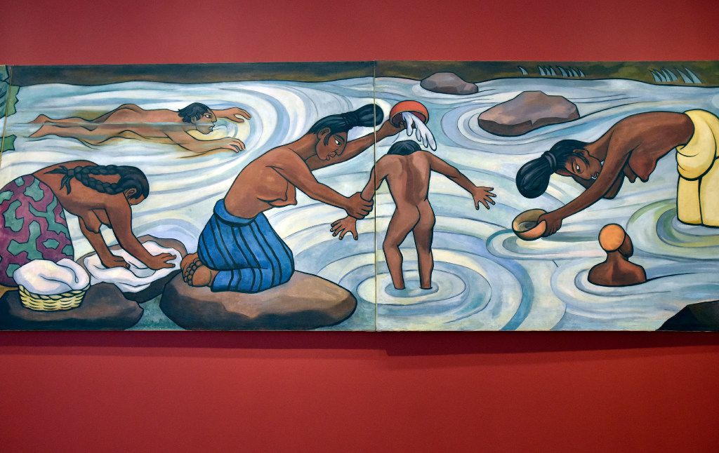 "A cropped image of ""Juchitan River,"" an oil on canvas on wood from 1953-55 by Diego Rivera, is part of the ""Mexico 1900-1950"" exhibition at the Dallas Museum of Art."