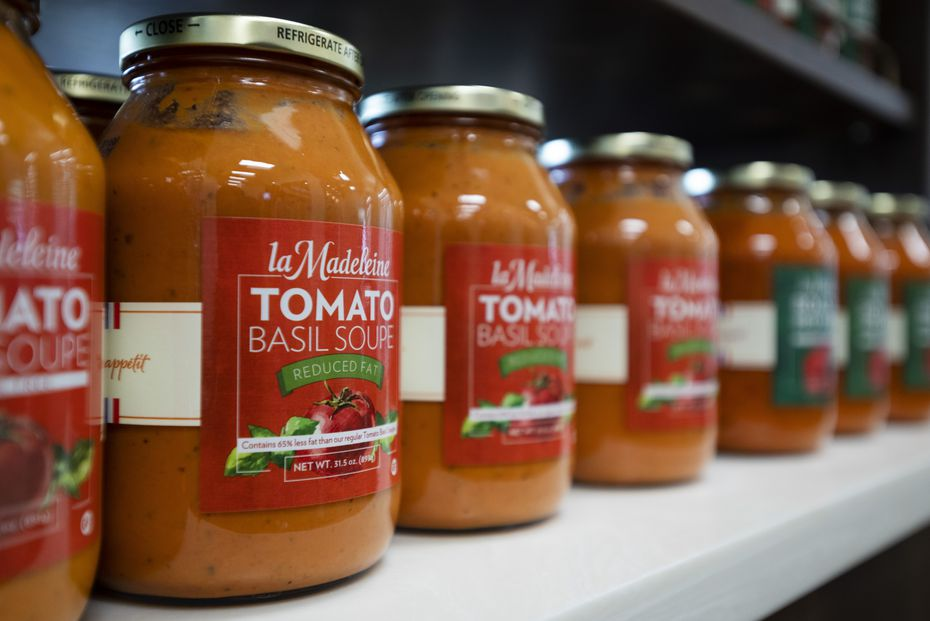 La Madeleine's signature tomato basil soup and other items to take home are sold in La Madeleine Express.