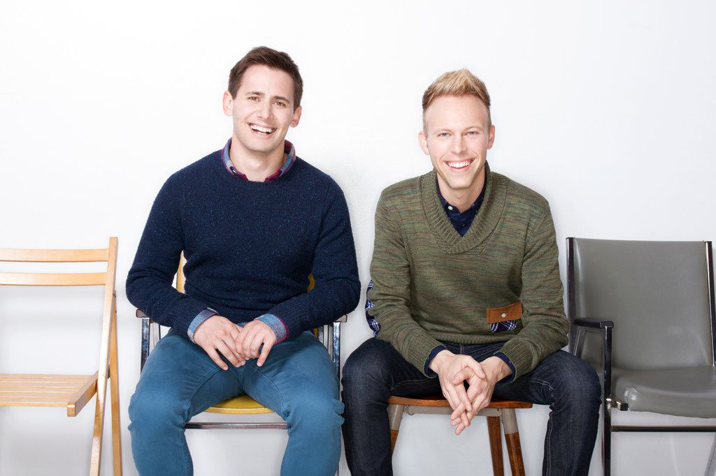 Benj Pasek (left) and Justin Paul, the Tony, Grammy and Academy Award-winning songwriting team.  A Christmas Story the Musical is being presented by AT&T Performing Arts Center at the Winspear Opera House Dec. 12-16, 2018.