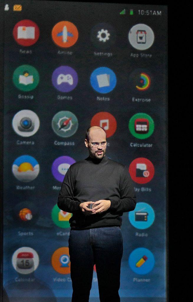 Edward Parks as Steve Jobs in the Santa Fe Opera's The (R)evloution of Steve Jobs.